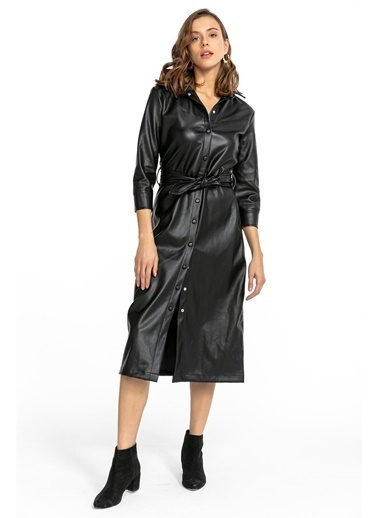 Tiffany&Tomato Midi Çıtçıtlı Deri Gömlek Elbise-Siyah Siyah